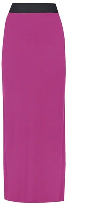 Purple Hanger Womens New Contrast Elasticated Waist Ladies Plain Long Stretch Maxi Dress Full Length Summer Skirt Cerise Size 12 14