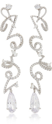 Anabela Chan Script 18K White Gold Vermeil And Diamond Earrings