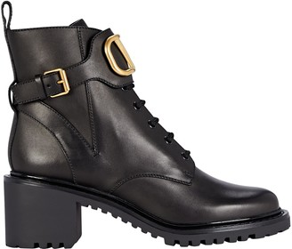 Valentino VLogo Leather Combat Boots