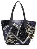 Marc Jacobs Wingman Embellished Snake-Print Leather Tote