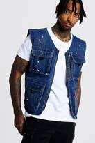 BoohoomanBoohooMAN Mens Blue Denim Utility Vest With Paint Splat, Blue