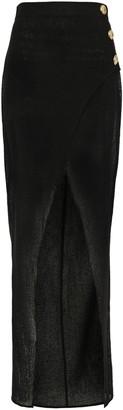 Balmain Wrap-effect Button-embellished Gauze Maxi Skirt