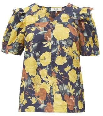 Sea Ella Floral Print Cotton Blouse - Womens - Yellow Multi