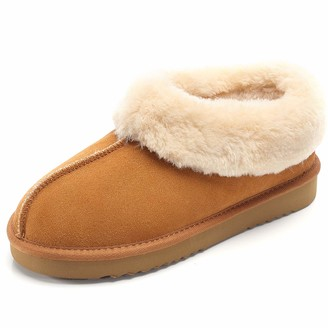 On COCOHOME Women's House Slipper Fluffy Suede Fur Collar Warm Winter Indoor Outdoor Anti-Skid Slip Shoes