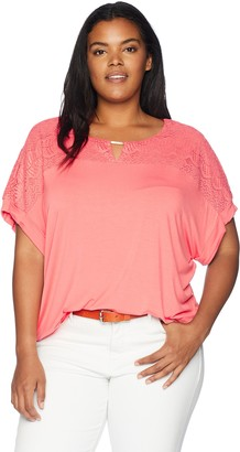 Calvin Klein Women's Plus Size Short Sleeve Top with Lace Yoke and Hardware