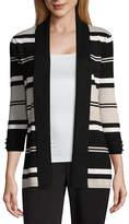 Liz Claiborne 3/4 Sleeve Open Front Striped Cardigan