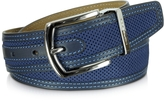 Moreschi St.Barth Navy Blue Perforated Nubuck and Leather Belt