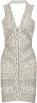 Hervé Léger Batik-print halterneck bandage dress