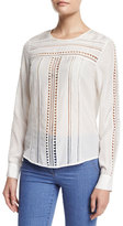 Veronica Beard Coral Gables Ladder-Stitched Silk Top, White