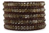 Chan Luu Wrap Bracelet - Labradorite Beads on Dark Brown Leather with Sterling Silver Clasp