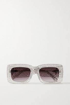 ATTICO Linda Farrow Stella Square-frame Crystal-embellished Acetate Sunglasses - Clear