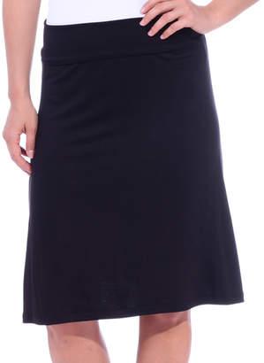 Brooke & Emma Women's Casual Skirts BLACK - Black Fold-Over Knee-Length Skirt - Women