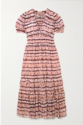 Ulla Johnson Elodie Tiered Tie-dyed Silk-georgette Maxi Dress - Blush