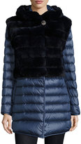 Gorski Rabbit Fur Stroller Coat w/ Removable Down Skirt & Sleeves, Navy