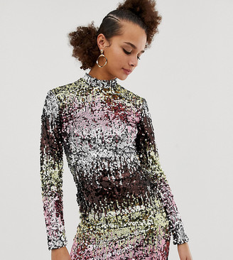 New Look long sleeve bodycon dress in multicoloured sequin