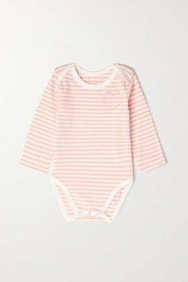 MORGAN LANE KIDS Roo Months 0 - 18 Embroidered Striped Stretch-cotton Onesie