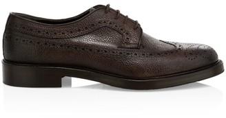 Eleventy Pebble Grain Leather Lace-Up Dress Shoes