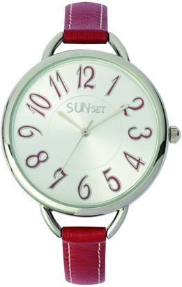 Sunset2260Ladies WatchAnalogue QuartzSilver Dial Red Leather Strap