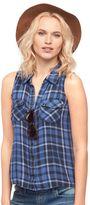 Rock & Republic Women's Plaid Sleeveless Shirt