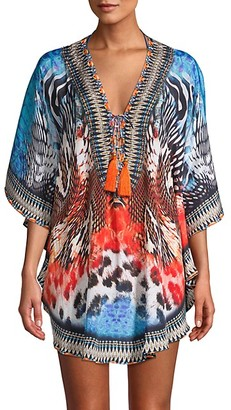 La Moda Clothing True Colors Animal Print Ikat Caftan