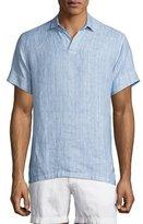Orlebar Brown Patrick Striped Linen Polo Shirt, Iris/Cloud
