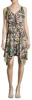 BCBGMAXAZRIA Draped Floral Print Asymmetrical Dress