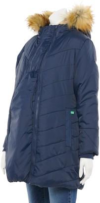 Modern Eternity Maternity 3-in-1 Faux-Fur Trim Hooded Puffer Coat