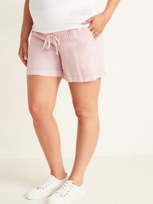 Old Navy Maternity Rollover-Waist Linen-Blend Shorts - 5-inch inseam