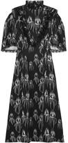 Miu Miu Ruffled Printed Satin Midi Dress - Black