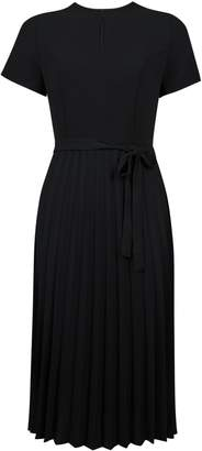 Dorothy Perkins Womens Black Keyhole Pleated Midi Dress With Pleated Skirt, Black