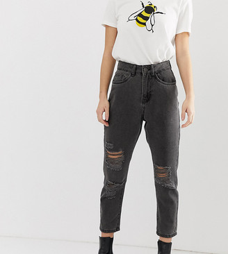 Noisy May Petite distressed mom jean in black