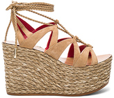 Pura Lopez Lace Up Wedge in Tan