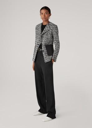 St. John Chevron Boucle Knit Leather Trim Jacket