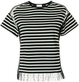 RED Valentino mesh insert striped T-shirt
