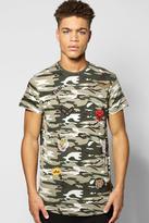 Boohoo Oversized Camo Badge T Shirt