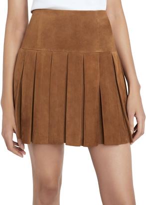 Alice + Olivia Emilie Pleated Suede Mini Skirt
