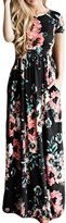 Greenis Summer Women Dress Maxi Floral Printed Cotton Short Sleeves Black