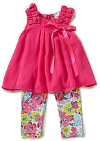 Rare Editions Baby Girls 12-24 Months Chiffon Top and Flower Printed Leggings Set