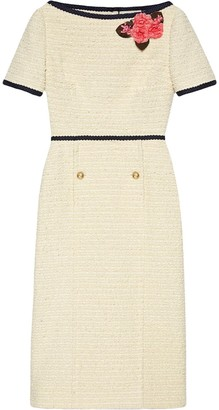 Gucci Floral Applique Tweed Dress