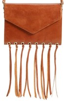 Hobo 'Maisy' Glazed Leather Fringe Crossbody Bag - Brown