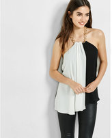 Express asyemmetrical color blocked chain neck halter