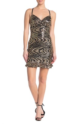 Bebe Sequin Flounce Hem Mini V-Neck Dress