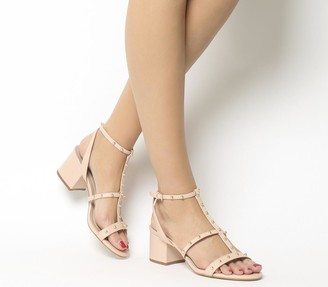 Office Midnight Studded Strappy Heels Nude Leather Gold Studs