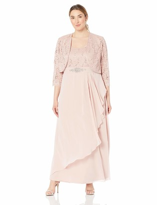 Jessica Howard JessicaHoward Size Womens 3/4 Sleeve Lace Jacket Gown with Beaded Waist