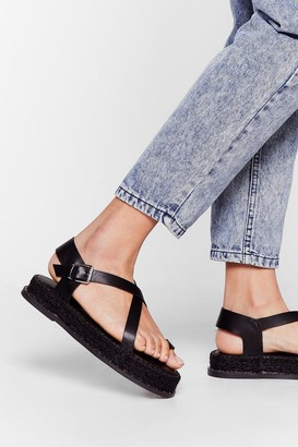 Nasty Gal Womens We've Woven You Faux Leather Espadrille Sandals - Black