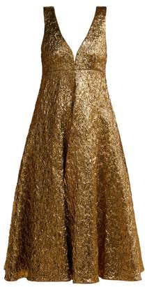 Rochas Metallic Boucle Foil Effect Midi Dress - Womens - Gold