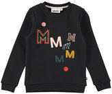 Molo Mara Black Bean Crewneck Sweatshirt, Black, Size 4-14
