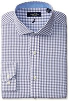 Nautica Men's Red Blue and White Check Shirt with Cutaway Collar