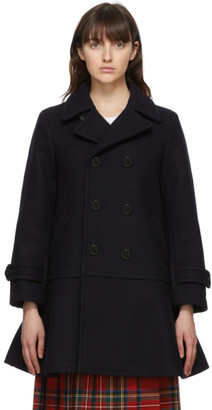 COMME DES GARÇONS GIRL Navy Wool Double-Breasted Coat