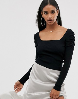 Asos Design DESIGN square neck jumper with volume sleeve-Black